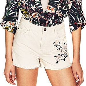 Embroidered Floral High Waisted Jean Shorts